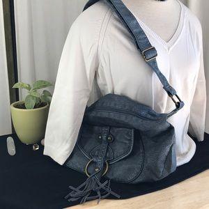 Blue Faux Leather Hobo Bag Purse